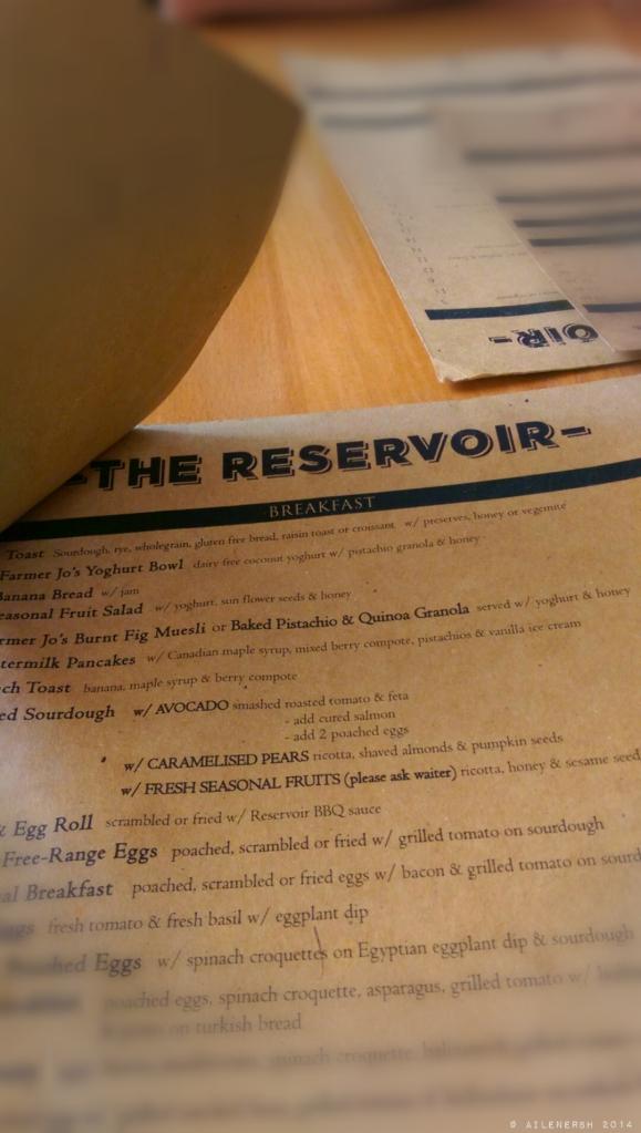 The Reservoir cafe menu