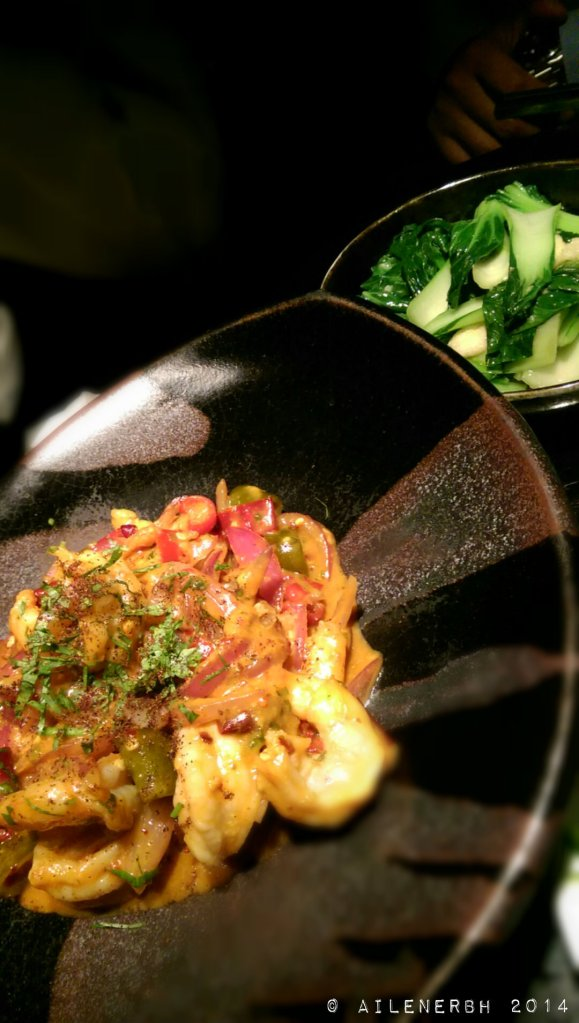 Stir fried prawns with salted duck egg and four chillies Brined, dried, fermented and pickled | Baby greens stir fried with bamboo pith and garlic