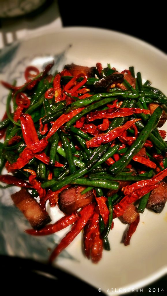Hunan style pork belly with fresh and dried chillies, snake beans and mushroom soy