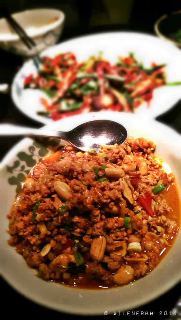 Stir fried quail and peanuts with steamed egg custard Spicy, crunchy, creamy