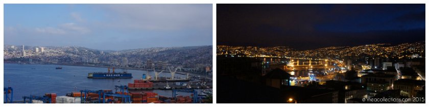 Valparaiso by day and night - view from Cerro Artilleria